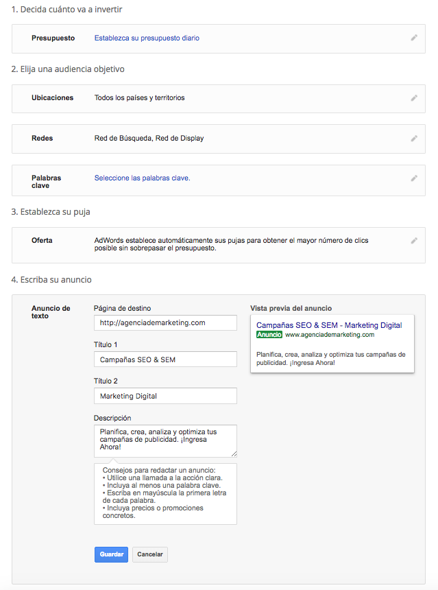 configuracion adwords -hubdigital