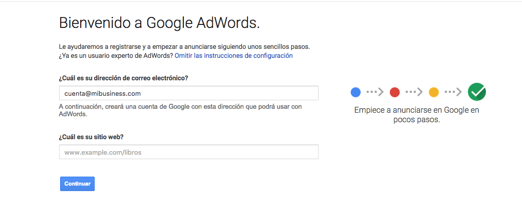registro de informacion Google adwords